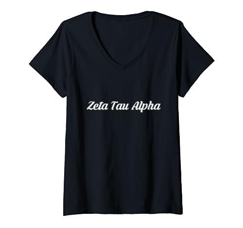 Womens Zeta Tau Alpha Zta University Letters Greek Alumni Sisters V Neck T Shirt