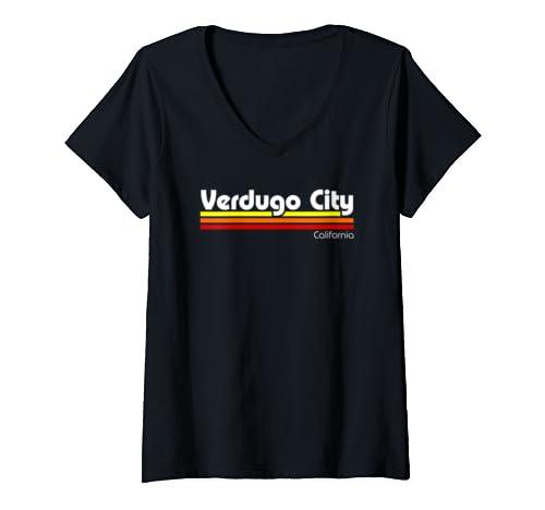 Womens Retro Verdugo City California  V Neck T Shirt