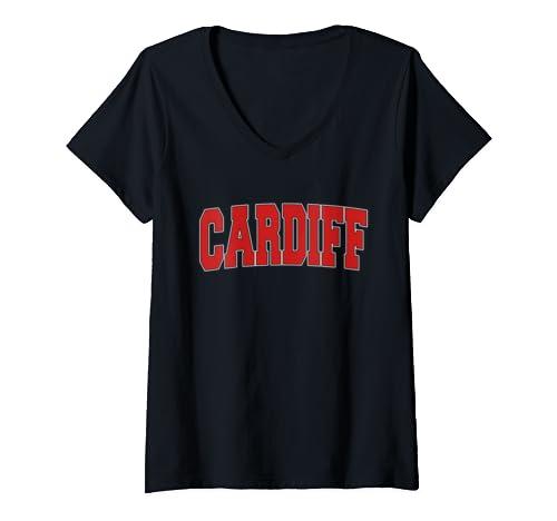 Womens Cardiff United Kingdom Varsity Style Vintage Retro Uk Sports V Neck T Shirt
