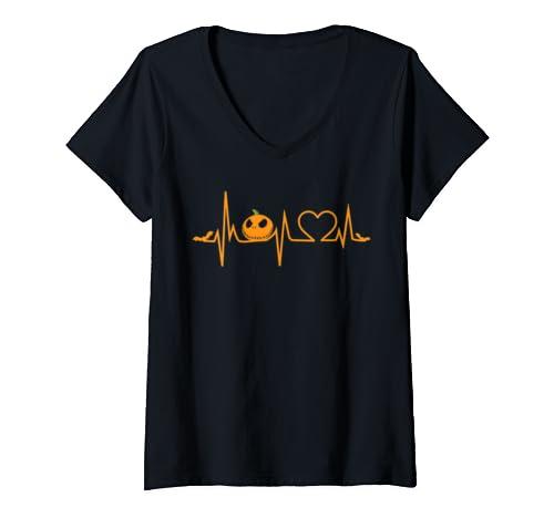 Womens Funny Pumpkin Heartbeat Halloween Shirt With Bat And Heart  V Neck T Shirt