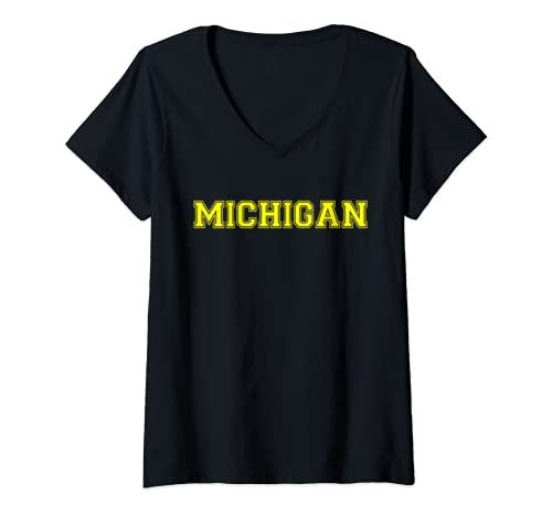 Womens College University Style Michigan Sports Gift V Neck T Shirt