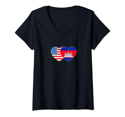 Womens Cambodia&Usa Flag Twin Heart For Cambodian Americans Patriot V Neck T Shirt