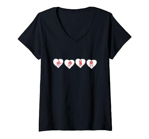 Womens Love Sign Language Hands Valentines Day Asl  V Neck T Shirt