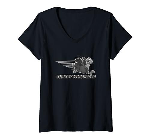 Womens Turkey Whisperer Turkey Hunting Turkey Hunting Season Gift V Neck T Shirt