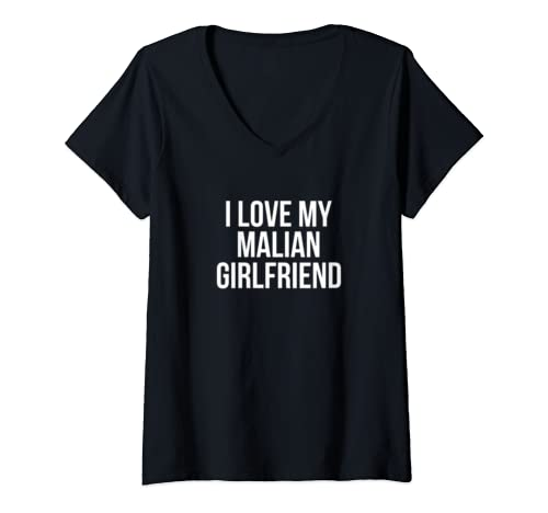 Womens I Love My Malian Girlfriend V Neck T Shirt