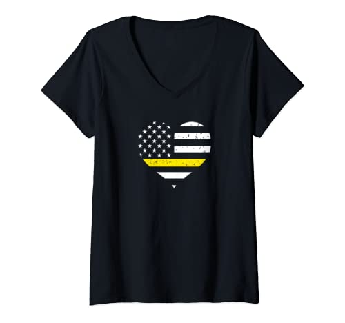 Womens 911 Dispatcher Wife Gift   Thin Gold Line Flag Heart V Neck T Shirt