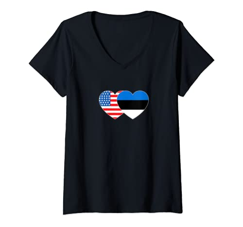 Womens Estonia & Usa Flag Twin Heart For Estonian Americans Patriot V Neck T Shirt
