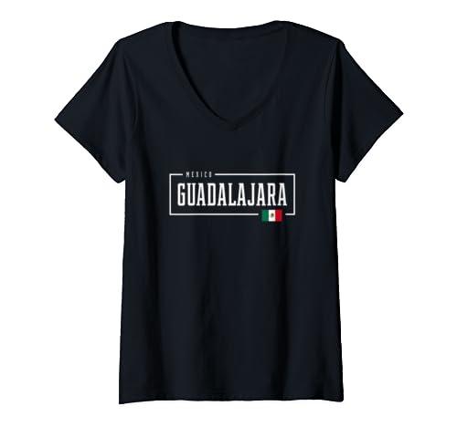 Womens Guadalajara City Mexico Mexican Flag V Neck T Shirt