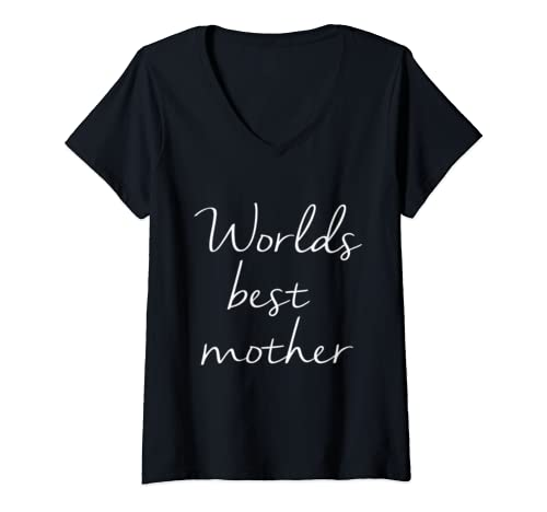 Womens Wordls Best Mother   Funny Mother's Day Gift Designs V Neck T Shirt