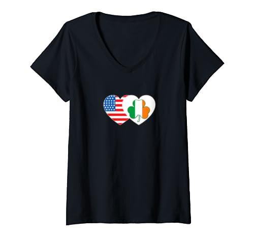 Womens Shamrock & Usa Flag Twin Heart For Irish Americans Patriotic V Neck T Shirt