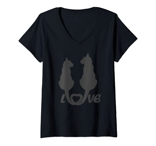 Womens Valentine's Day Cat Lover Graphic V Neck T Shirt