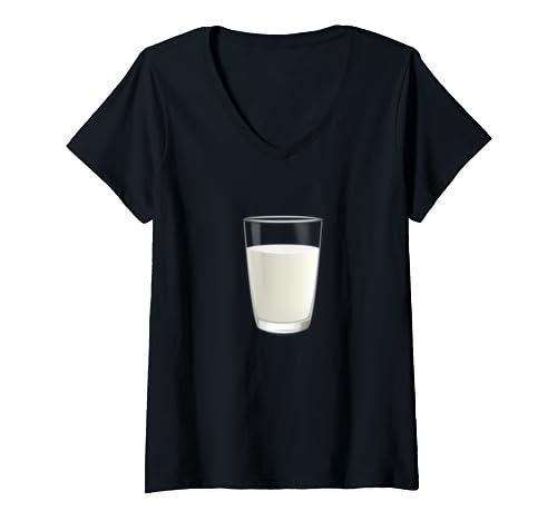 Womens Glass Of Milk Halloween Costume  V Neck T Shirt