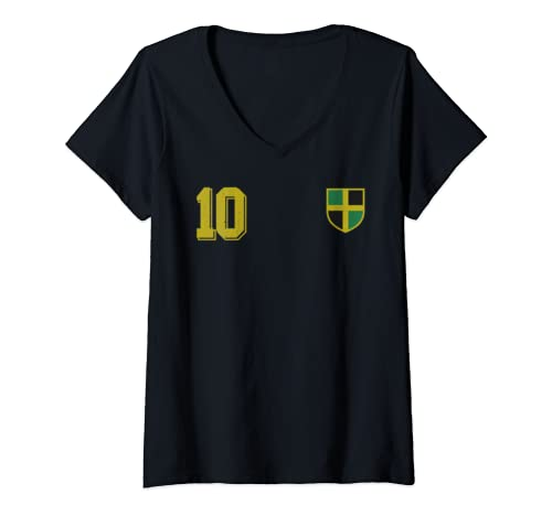Womens Jamaica Or Jamaican Design In Football Soccer Style V Neck T Shirt