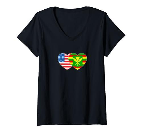Womens Kanaka Maoli &Usa Flag Twin Heart For Hawaiian Americans Tee V Neck T Shirt