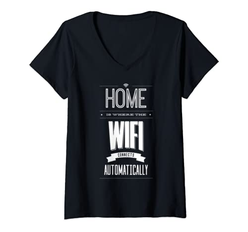 Womens Home Is Where The Wifi Connects Automatically Free Hotspot V Neck T Shirt