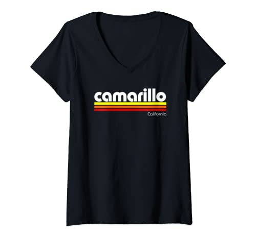 Womens Retro Camarillo California  V Neck T Shirt