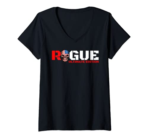 Womens Rogue Warrior Patriot Tee Gaming Rogue Rebel Army Military V Neck T Shirt
