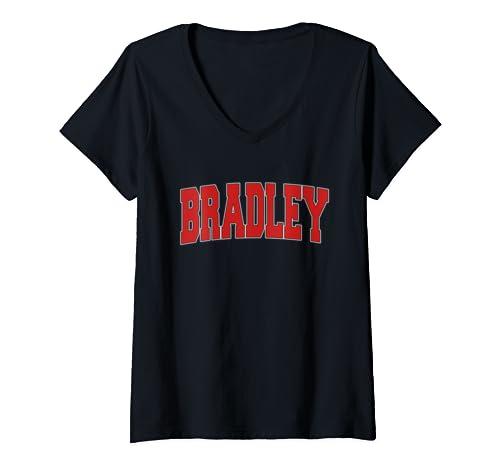 Womens Bradley Il Illinois Varsity Style Usa Vintage Sports V Neck T Shirt