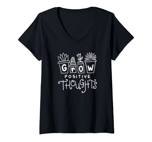 Womens Cute Grow Positive Thoughts For Growth Mindset Teacher V Neck T Shirt