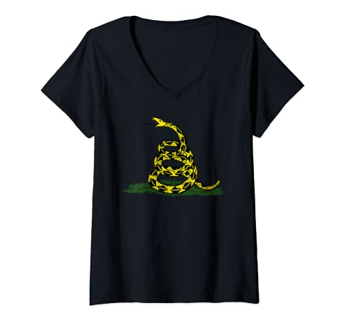 Womens Gadsden Flag Snake Funny Gadsden Rattlesnake V Neck T Shirt
