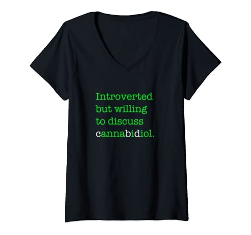 Womens Introverted But Willing To Discuss Cbd V Neck T Shirt