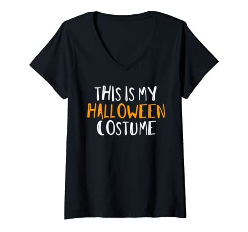 Womens Funny Retro This Is My Halloween Costume  V Neck T Shirt