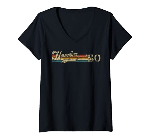 Womens Classic 69th Birthday Gift Men Women Vintage November 1950 V Neck T Shirt
