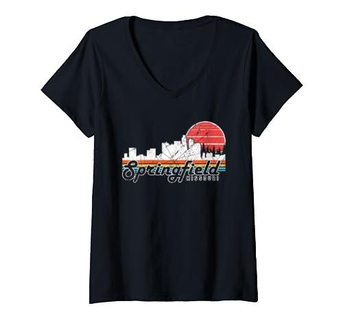Womens Retro Vintage Springfield City Missouri Graphic Souvenir V Neck T Shirt