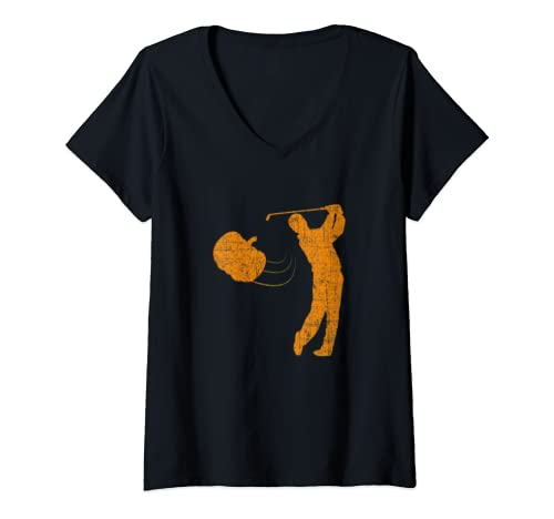 Womens Halloween   Pumpkin Golf   Funny Golfer Halloween V Neck T Shirt