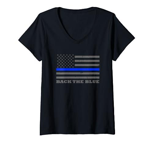 Womens Thin Blue Line Flag   Police Officer Gift   Back The Blue V Neck T Shirt