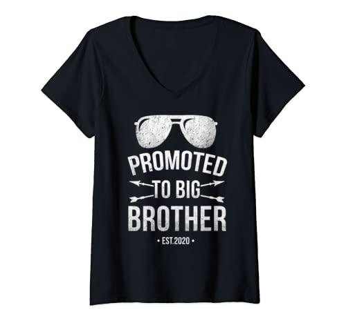 Womens Promoted To Big Brother Est. 2020 Vintage Arrow  V Neck T Shirt