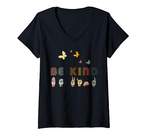 Womens Vintage Be Kind Gift Kindness Butterfly  V Neck T Shirt