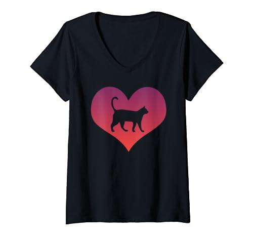 Womens Cat Love Heart Kitten Cute Cat Owner Animal Gift V Neck T Shirt