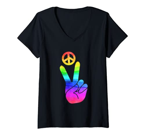 Womens Peace Hand Sign Tie Dye Old School Hippie 60s 70s Inspired V Neck T Shirt