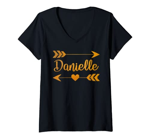 Womens Danielle Personalized Name Funny Birthday Custom Gift Idea V Neck T Shirt