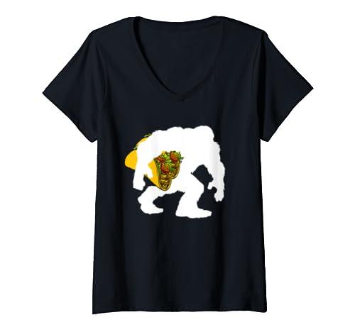 Womens Bigfoot Sasquatch Carrying Taco  V Neck T Shirt