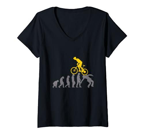 Womens Mountain Biking Mtb Evolution Funny Gift For Men Women V Neck T Shirt