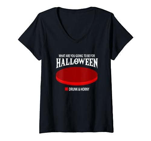 Womens Halloween Drunk Horny Sex Flirt Single Gift V Neck T Shirt