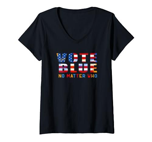 Womens Vote Blue No Matter Who Anti Trump Donald 2020 Gift V Neck T Shirt