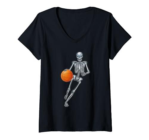 Womens Skeleton Basketball Halloween   Funny Sport Skeleton Gift V Neck T Shirt