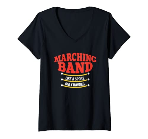 Womens Marching Band Like A Sport Only Harder Funny Gift V Neck T Shirt