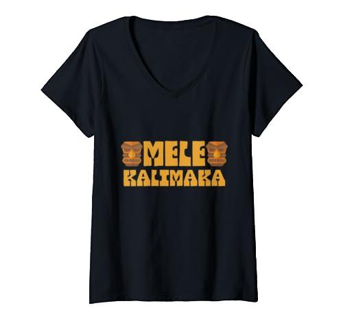 Womens Tiki Mele Kalikimaka Merry Christmas Hawaiian Funny Holiday V Neck T Shirt