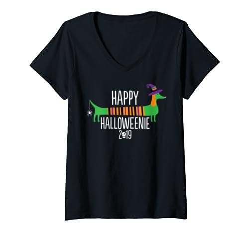 Womens Dachshund Happy Halloweenie Dog Halloween 2019 For Kids V Neck T Shirt