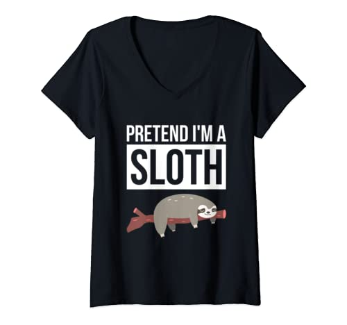 Womens Simple Halloween Costume For Sloth Lover Pretend I'm A Sloth V Neck T Shirt