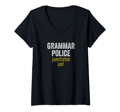 Womens Lazy Halloween Costume Shirt Grammar Police V Neck T Shirt