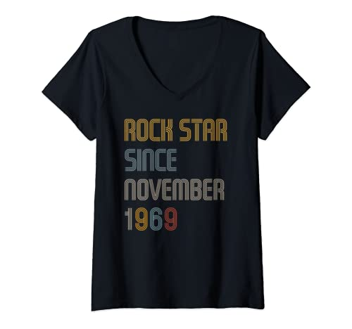 Womens Rock Star Since November 1969 50th Birthday Party Gift Idea V Neck T Shirt
