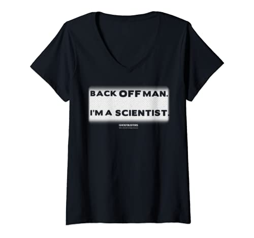 Womens Ghostbusters Back Off Man Text Block V Neck T Shirt