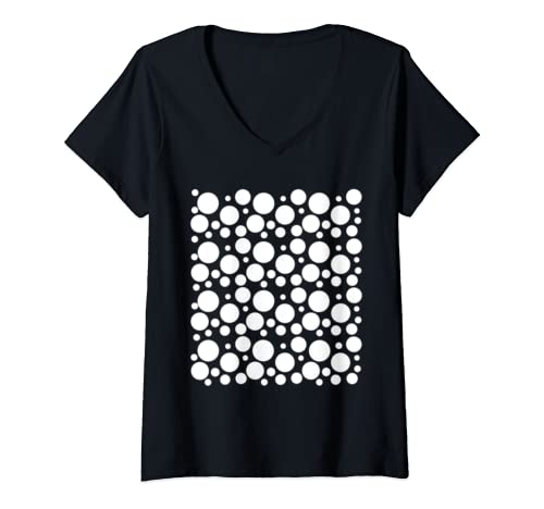 Womens International Dot Day: Black And White Polka Dot V Neck T Shirt