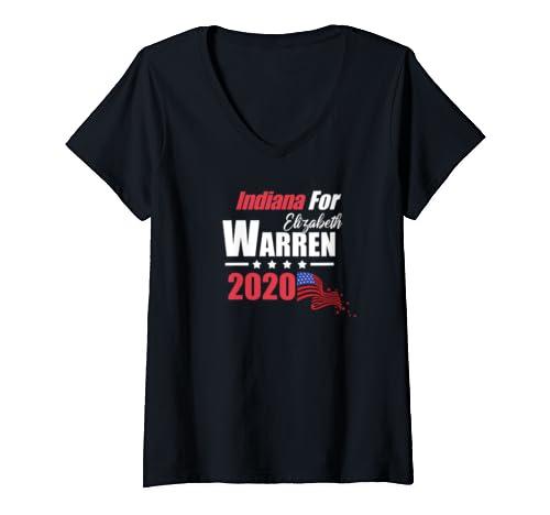 Womens In Indiana For Elizabeth Warren 2020 President Democrat V Neck T Shirt