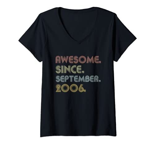 Womens Awesome Since September 2006 Birthday Gift For 13 Yrs Old V Neck T Shirt
